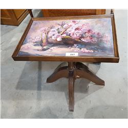 SIGNED HAND PAINTED TILT TOP OCCASIONAL TABLE