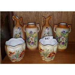 LOT OF 6 VICTORIAN PORCELAIN VASES