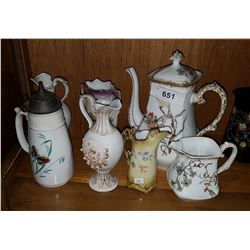 SEVEN PIECE COLLECTIBLE CHINA INC LIMOGES COFFEE POT & CREAMER