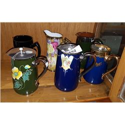 SIX VINTAGE/ANTIQUE WATER PITCHERS