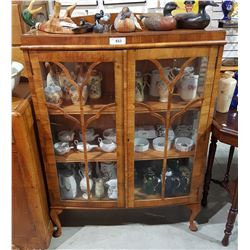VINTAGE WALNUT DOUBLE DOOR DISPLAY CABINET