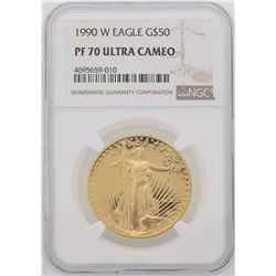 1990-W $50 American Gold Eagle Coin NGC PF70 Ultra Cameo