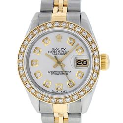 Rolex Ladies Two Tone 14K Silver Diamond Datejust Wristwatch