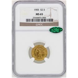 1905 $2 1/2 Liberty Head Quarter Eagle Gold Coin NGC MS65 CAC