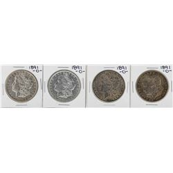 Lot of (4) 1891-O $1 Morgan Silver Dollar Coins