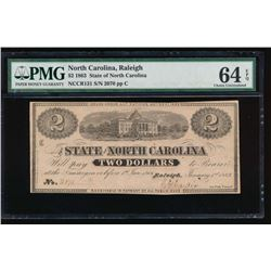 1863 $2 North Carolina Obsolete Note PMG 64EPQ