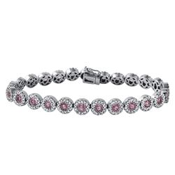 14KT White Gold 6.02ctw Pink Sapphire and Diamond Bracelet