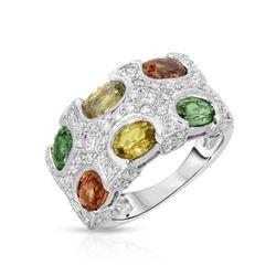 14KT White Gold 3.96ctw Multi Color Sapphire and Diamond Ring