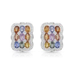 14KT White Gold 10.01ctw Multi Color Sapphire and Diamond Earrings