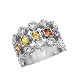 14KT White Gold 1.56ctw Multi Color Sapphire and Diamond Ring