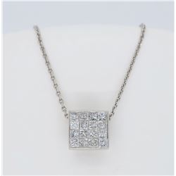 18KT White Gold 0.50ctw Diamond Pendant with Chain