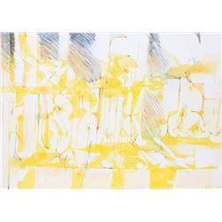 Dimitri Petrov, Yellow Abstract, Watercolor Painting
