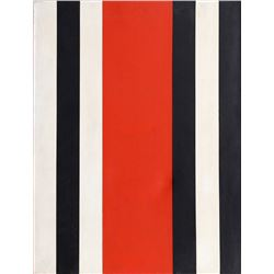Warner Friedman, Red Black and White Stripes, Oil Painting