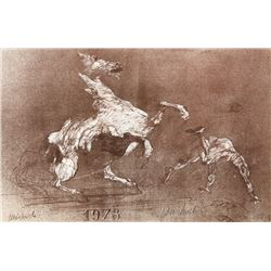 Claude Weisbuch, Rider thrown from Horse, Lithograph