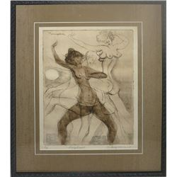 Raul Anguiano, Striptease, Etching