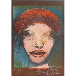 Leonel Gongora, Portrait of a Woman with Red Hat, Lithograph