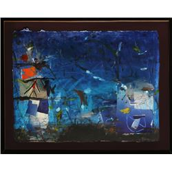 Gustavo Rivera, Blue Abstract, Mixed Media Collage