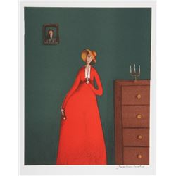 Branko Bahunek, The Woman in Red, Lithograph