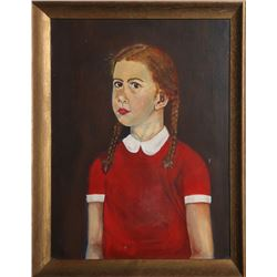 Portrait of Girl with Braids in Red Dress, Oil Painting