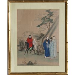 Chinese Return from Journey on Donkey, Print on Silk