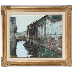 Xue Jian Xin, Boat in Village Canal, Oil Painting