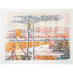 Georges Schreiber, Sunset View Through Masts, Lithograph