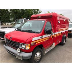 2002 FORD E-350 SUPER DUTY, AMBULANCE, RED, VIN # 1FDWE35FX2HB69131