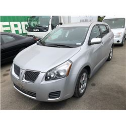 2009 PONTIAC VIBE, SILVER, HATCHBACK, GAS, AUTOMATIC, VIN#5Y2SP678X9Z430596, 35,549KMS, RD,CD,AC,3