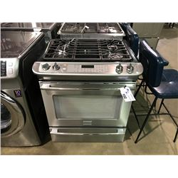 FRIGIDAIRE PROFESSIONAL SERIES STAINLESS AND BLACK 4 BURNER SLIDE IN GAS STOVE