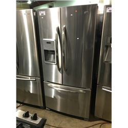 STAINLESS AND GREY MAYTAG FRENCH DOOR FRIDGE WITH ROLL OUT FREEZER