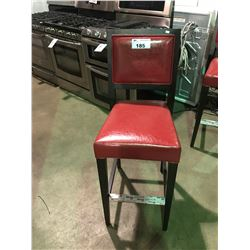 "1 RED LEATHER AND DARK STAINED WOOD  30"" HIGH BAR STOOL"