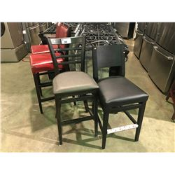 2 ASSORTED NEW WOOD AND LEATHER AND CLOTH BAR STOOLS