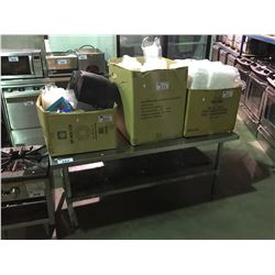 "60""W X 30""D X 27""  COMMERCIAL GRADE EQUIPMENT TABLE INCLUDES 3 BOXES OF CATERING SUPPLIES"