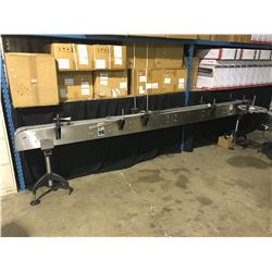 A PACKAGING SYSTEMS STAINLESS STEEL 12' PLASTIC BELT CONVEYOR SYSTEM
