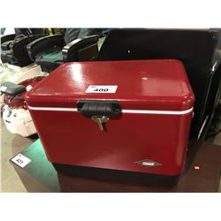 METAL COLEMAN  RED RETRO  STYLE COOLER