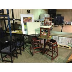 BLACK MOBILE RESTAURANT TABLE/WOODGRAIN TABLE/2 BOOSTER SEATS/CHAIR/METAL CABINETS/PICTURES