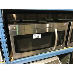 SAMSUNG STAINLESS STEEL AND BLACK ABOVE RANGE MICROWAVE