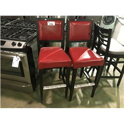 "PAIR OF RED LEATHER AND DARK STAINED  30"" HIGH BAR STOOLS"