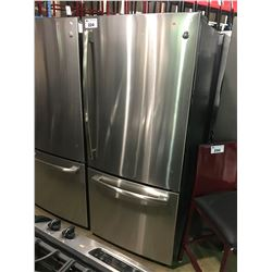 GENERAL ELECTRIC STAINLESS STEEL RIGHT  HAND OPEN BOTTOM  SWING DOOR FREEZER REFRIGERATOR,