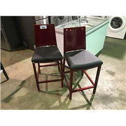 "PAIR OF METALLIC CANDY APPLE RED METAL AND BLACK LEATHER MODERN 28"" BAR STOOLS"