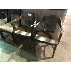 PAIR OF DARK WOOD PUB CHAIRS