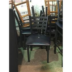 BLUE WITH BLACK TRIM  SINGLE LADDERBACK  DINING CHAIR