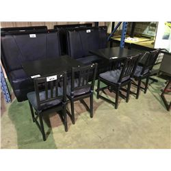 4 BLACK WOODEN RESTAURANT CHAIRS WITH CUSHIONS