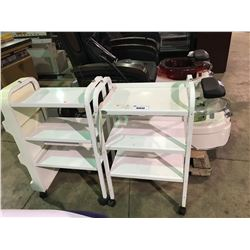 WHITE 3 TIER MOBILE BEAUTICIAN CART