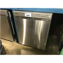 SAMSUNG STAINLESS STEEL AND SILVER DISHWASHER WITH STAINLESS TUB INSERT