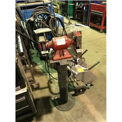 RED BALDOR 3HP BENCH GRINDER WITH STAND