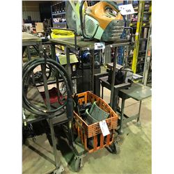 MOBILE WELDING CART WITH A BIN OF TRUCK BAKE PADS