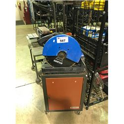 """15A 14"""" ABRASIVE CUT OFF SAW  ON MOBILE STAND"""