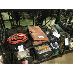 SHELF LOT OF ASSORTED POWER TOOLS, ANGLE GRINDERS, SOCKET SET, JUMPER CABLES AND STRAPS