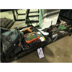 SHELF LOT OF ASSORTED POWER TOOLS , AIR CONDITIONER, RAMP SET AND DIAGNOSTIC TOOLS